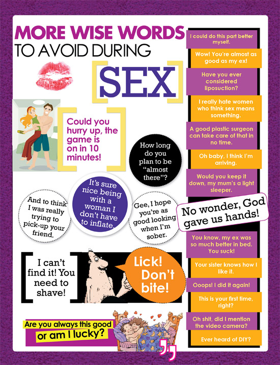 Things You Should Avoid Saying During Sex