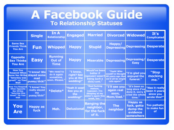 Facebook Gudie to Realationship Status'